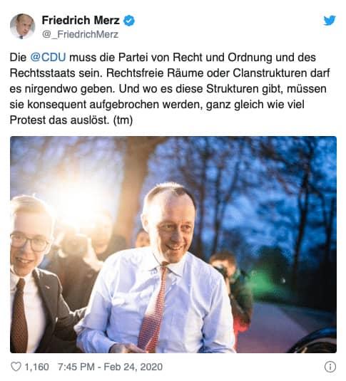 Tweet von Friedrich Merz, 24. Februar 2020. Quelle: Twitter